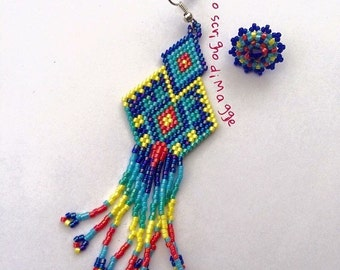 Asymmetrical colored Indian style earrings