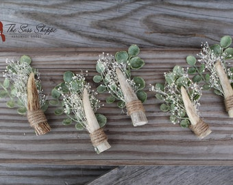 SET OF 5 - Deer Tine and Dried Baby's Breath Boutonnieres Rustic, Woodland, or Country Wedding or Prom