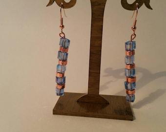 Swarovski blue and rose gold beaded earrings