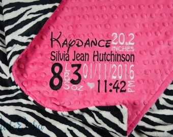 Personalized Baby Blanket, Custom Blanket, Minky Blanket, Personalized Birth Stat Blanket, Baby Blanket,Choose Your Colors, Choose Your Size