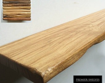 "Rustic Oak Floating Shelves Wood Shelves - 8"" x 1.25"" / 20cm x 3cm - Up to 4.5ft (137cm) Long - Floating Fixings Inc. - Ships to EU"