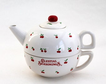 Celestial Seasonings Tea for One Stacking Teapot and Cup Set,  Vintage Tea Pot and Cup with Cherries Decor