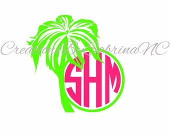 Palm Tree Monogram Decal- Palm Tree Decal