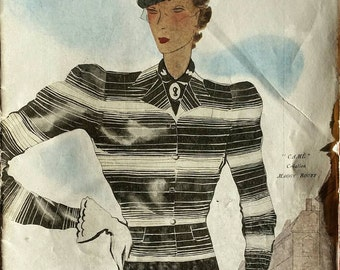 """French Art Deco 1935 """"Modes et Travaux"""" Magazine Fashion Design ~ Embroidery Sewing Patterns ~  Advertisement"""