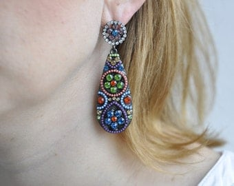 Earring beads - multi color in the boho style