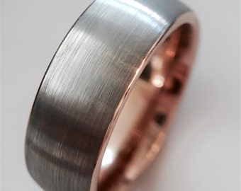 Wedding Bands, Rose Gold Bands, Rose Gold Ring, Tungsten Wedding Band, Engagement Ring, His and Hers Promise Ring, Mens Ring, Mens Gift