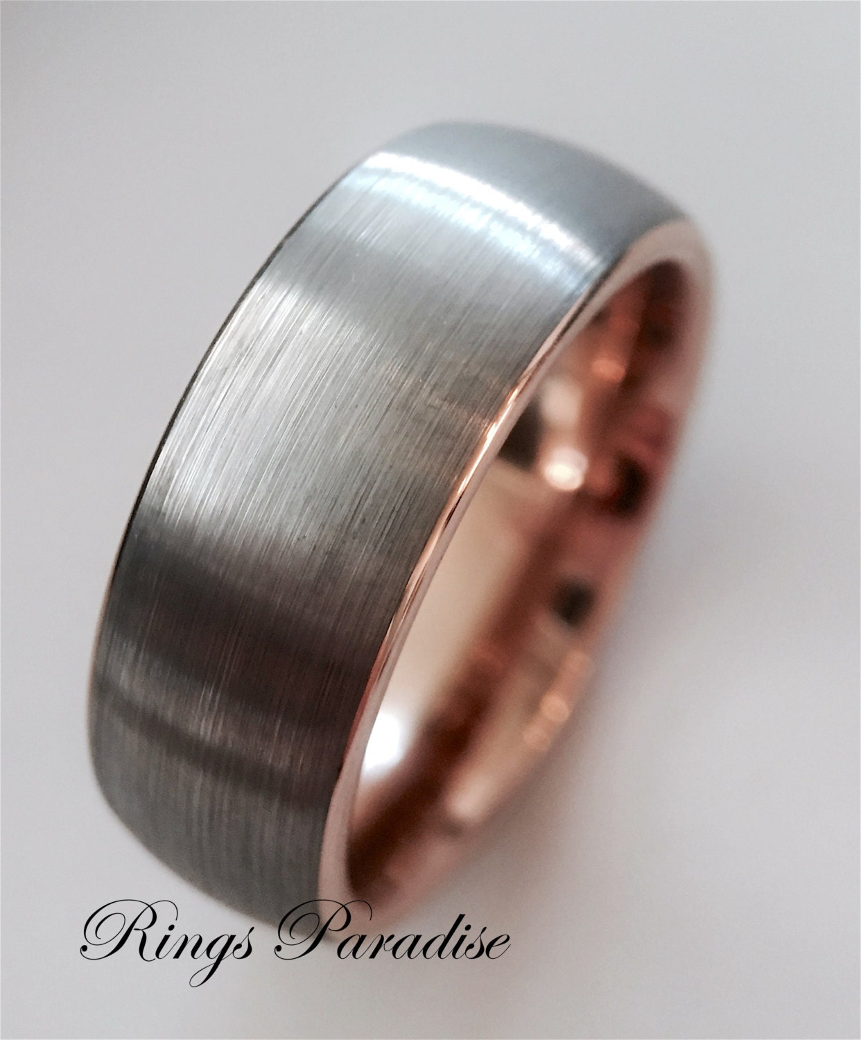 Wedding bands rose gold bands rose gold ring tungsten for Wedding rings bands