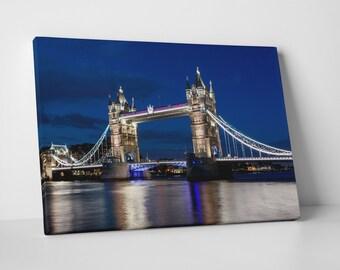 London UK Tower Bridge Skyline Gallery Wrapped Canvas Print