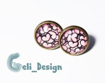 Cabochon earrings pink love heart