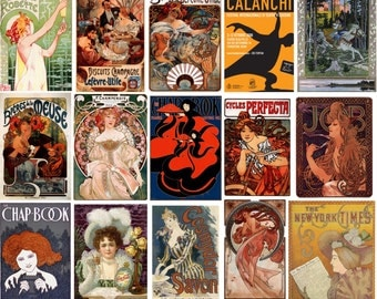 100 Art Nouveau and other posters, vintage posters, instant download