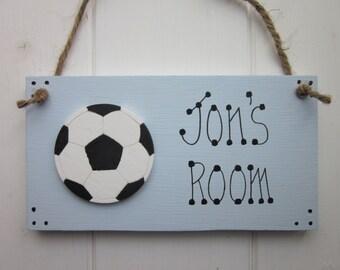 Football boys bedroom door sign plaque personalised name