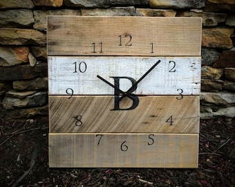 "Monogrammed Reclaimed Pallet Wood Clock - ""Half Time"" (14"" x 14"") - Custom. Wedding Gift. Housewarming Gift. Anniversary Gift."