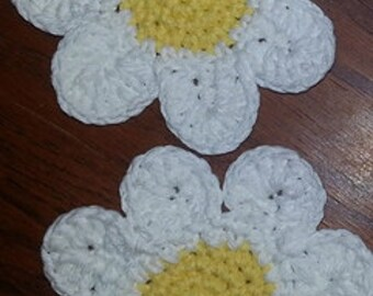 Adorable Crocheted Daisy Coasters - 100% cotton - set of 2
