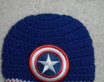 Captain america hat, baby boy hat, photo prop, super hero, newborn captain america hat, Crochet captain america hat, ready to ship