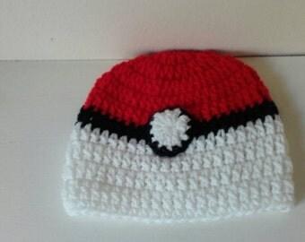 Toddler pokeball hat, Crochet pokeball hat,baby pokeball  hat, newborn pokeball hat, pokeball hat, ready to ship