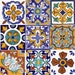 Tile Stickers for Kitchen Bath or Floor Waterproof  Spanish Mexican Talavera TR006
