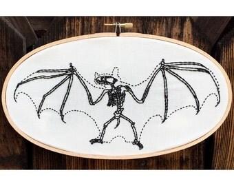 "Bat skeleton hand embroidery hoop art. 5"" x 9"" oval hoop. Home decor. Animal anatomy. Macabre."