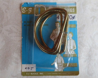 4 Two-Inch Vintage Gold Tone D Rings in Package, E-Z Buckle