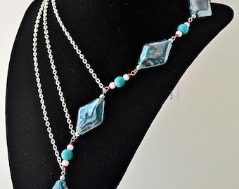 Teal diamond asymmetrical statement necklace