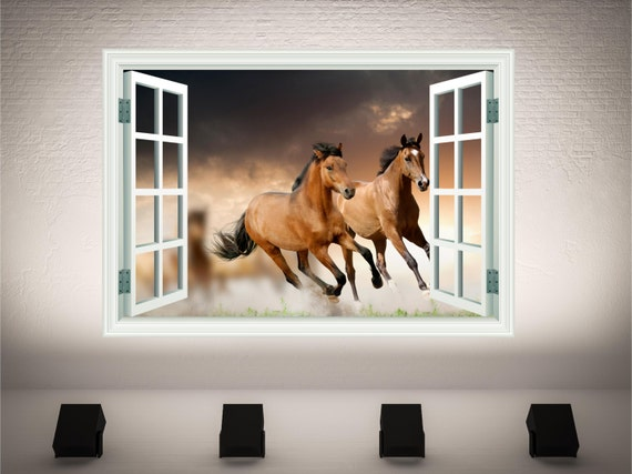 3D Horse Window Wall Decal by WallPrintCreations