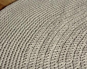 Organic rug, Linen crochet rug, flax linen carpet,floor mat,doily rug, grey rug, round rug, natural rug, nursery rug, rustic rug