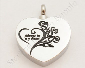 Stainless Steel Cremation Locket, Always in My Heart, Ash Urn, Loss Locket, Ash Urn Locket, USA Seller, Fast Shipping (L-CRE-4)