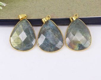5-10pcs Nature Labradorite Stone Druzy Pendant,Drop Shape,Druzy Gemstone Labradorite Pendant For Jewelry Making