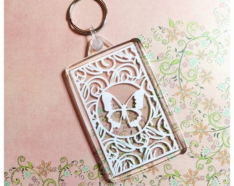 Creepy Crawlies Paper Cut Keyrings - 4 Designs: Butterfly, Dragonfly, Bee and Ladybird
