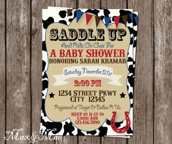 Baby Shower Cowboy Theme: Western Baby Shower Invitation Saddle Up Invite Cowboy Baby