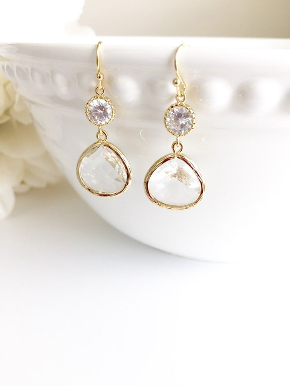 Crystal Drop Cubic Zirconia Earrings