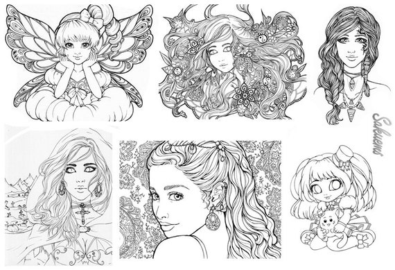 Fantasy art coloring pages ~ DIGITAL Adult Coloring book 20 designs Fantasy line art by ...