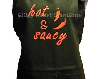 "Apron - ""Hot and Saucy"" Design -Decorated Apron -BBQ Apron -Kitchen Apron"