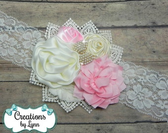 Pink & Cream Flower Cluster Headband