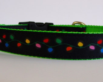 "READY TO SHIP! Bright Lights Dog Christmas Collar - Small 3/4"" wide"