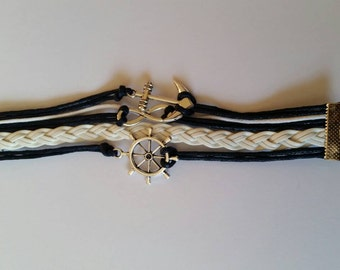Blue anchor bracelet