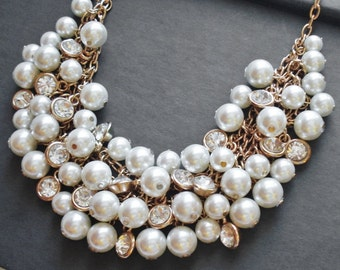 White Pearl Necklace Wedding Jewelry Bridal Necklace Statement Jewelry Chunky Necklace Bridal Jewelry Multi Strand Gold Necklace Gift Idea