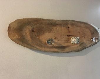 Pecan Log Slice Coat Rack