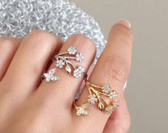 Crystal Flower and Butterfly Ring