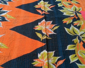 Best fo Vintage Kantha!! USD 30 off!! Indian Reversible vintage kantha quilt/ throw/ blanket/ coverlet/ boho/ hippie/ chic/ Ready to Ship