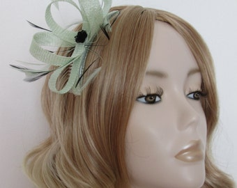 MINT GREEN and BLACK Fascinator, Made of Sinamay, with feathers, sequin flower, on a comb