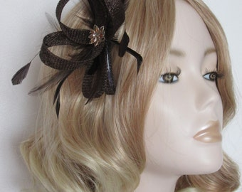 CHOCOLATE BROWN FASCINATOR, Made of Sinamay, with Amber Silver flower rhinestone, feathers,on a comb