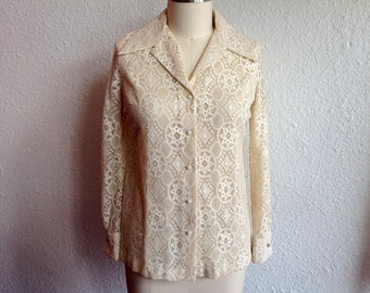 1970s Ivory lace button up blouse