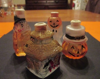 4 Old World Halloween light covers ghost pumpkin witch haunted house