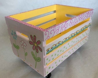 hand painted crate toy box, flower toy box, kids bookcase, crate bookcase, kids book holder