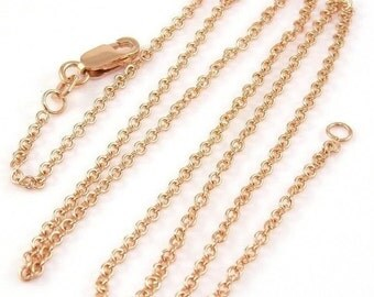 Solid 14k Rose Gold 1.5mm Rolo Link Chain 16 inches, 2.33 grams, for your own pendant