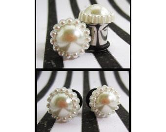 Faux Pearl on stainless steel Wedding EAR TUNNELS you pick the plug gauge size - 6g, 4g, 2g, 0g, 00g aka 4mm, 5mm, 6mm, 8mm, 10mm