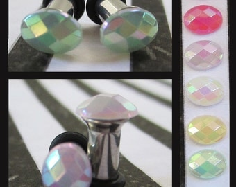 Oval Jelly Rhinestone on a Stainless Steel Wedding EAR TUNNELS you pick the color and plug gauge size - 12g, 8g, 6g aka 2mm, 3mm, 4mm