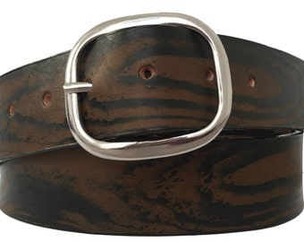 Brown Wood Grain Leather Belt Strap - Full Grain Leather