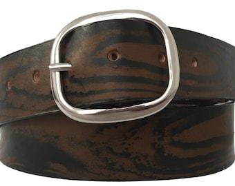 Brown Wood Grain Leather Belt Strap - Full Grain Leather