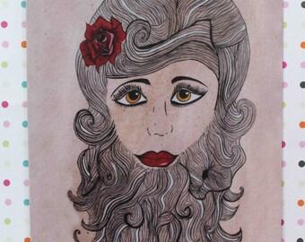 Bearded Lady Blank card